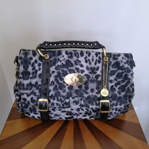 Big Buddha Gray-Tone Leopard-Print Top-Handle Bag